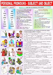 English Worksheet: PERSONAL PRONOUNS - SUBJECT AND OBJECT