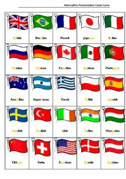 Nationalities Pronunciation Cards Game