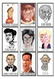 English Worksheet: FAMOUS people CARICATURES game (3/3)