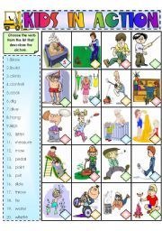 English Worksheets: Kids in Action