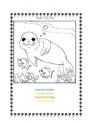 English Worksheet: Under The Sea Coloring Page