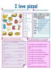 English Worksheet: FOOD-FREQUENCY ADVERBS!