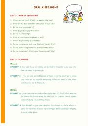 English Worksheet: Set of pictures and activities for oral assessment - (9 pages)