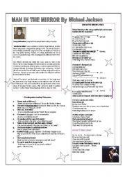 English Worksheets: SONG - MAN IN THE MIRROR BY MICHAEL JACKSON