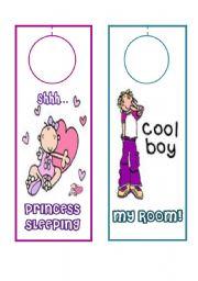 English Worksheets: DOOR HANGERS FOR KIDS (2)