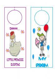 English worksheet: DOOR HANGERS FOR KIDS