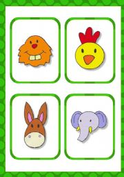 English Worksheets: 14 animal faces flashcards