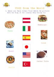 English worksheet: Food from the World
