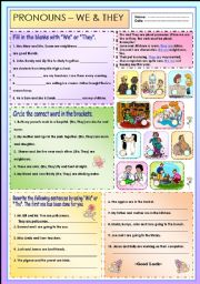 English Worksheets: Pronouns - We & They