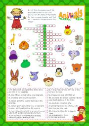 English Worksheet: Animal crossword puzzle from the