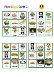 English Worksheet: Food - Bingo Cards part 3