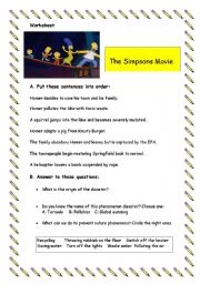 English Worksheets: The Sympsons movie worksheet.