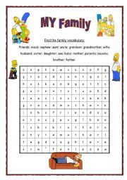 English Worksheet: Family wordsearch - with key