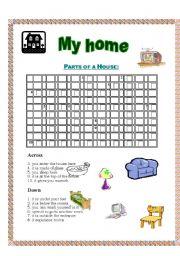 English Worksheet: House crossword - with key