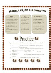 English Worksheet: A short ws to introduce  �make�, �let�, and �be allowed to� to my B2 students