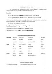 English Worksheets: The Subjunctive Form