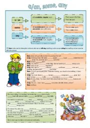 English Worksheets: a, an, some, any