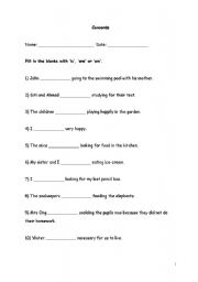 English Worksheets: concords