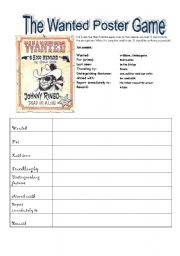 English Worksheet: The Wanted Poster Game