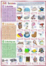 English Worksheet: At home (1 of 2)