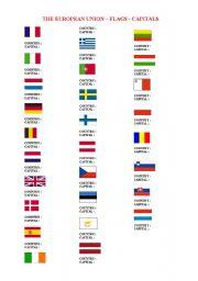 English Worksheet: THE EUROPEAN UNION FLAGS