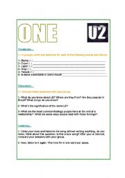 English Worksheets: One by U2 - song class worksheet