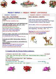 Present Perfect  versus Present Perfect Continuous  : 4 pages of exercises