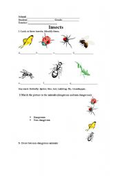 English Worksheets: Animals:dangerous and non-dangerous