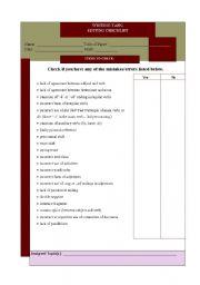 English Worksheets: Writing Task - editing checklist