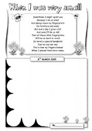 English Worksheet: When I was very small (Mother´s Day poem and craft)