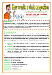 English Worksheet: How to write a whole composition- 2 pages