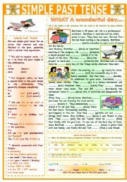 English Worksheet: SIMPLE PAST TENSE (WHAT A WONDERFUL DAY...)