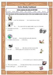 English Worksheets: Words easily confused-hitting