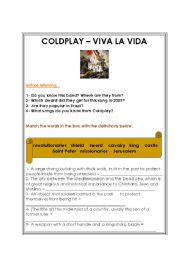 English Worksheet: Coldplay - Viva la Vida [Song Class  worksheet]