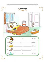 English Worksheets: Prepositions of place: on, in, under, behind