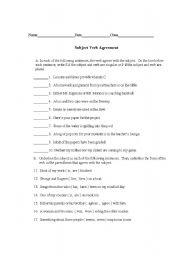 English Worksheet: Subject Verb Agreement Test