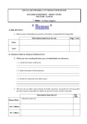 English Worksheet: Short Story