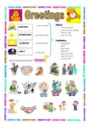 English Worksheets: GREETINGS  ( during the day): 2 pages