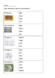 English Worksheets: describing materials