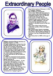 English Worksheets: Extraordinary People 2 ...Rosa Parks and Wolfgang Amadeus Mozart (2 pages)