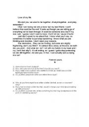 English Worksheets: Don´t speak - reading + questions