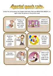 English Worksheet: REPORTED SPEECH CARDS