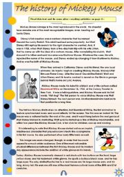 English Worksheet:  THE HISTORY OF MICKEY MOUSE - READING + SOME AFTER-READING ACTIVITIES (2pages)