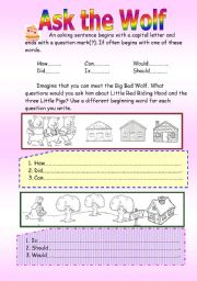 English Worksheets: ask the wolf