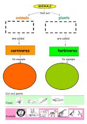 English Worksheets: Carnivores and Herbivores animals