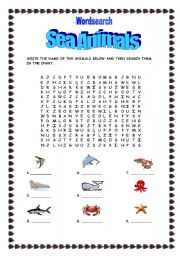 English Worksheets: Sea Animals-wordsearch