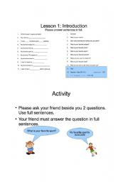 English Worksheets: Introduction Lesson