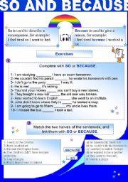 English Worksheets: SO AND BECAUSE