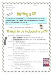 cv template in word esl worksheet by elainew