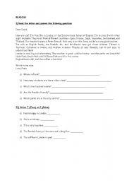 English worksheet: Reading Comprehension & Translation